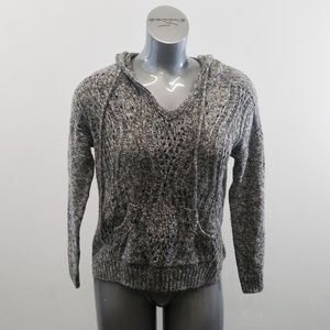 Maurices Womens S Gray Hooded Cotton Blend Sweater